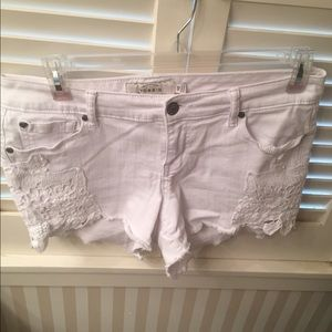 Torrid white denim and lace cit-off Jean Shorts